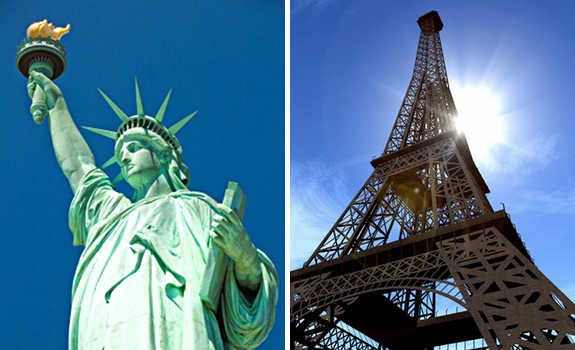Statue of Liberty, New York, USA, Eiffel Tower, Paris, France