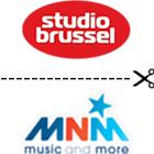 Studio Brussel logo, MNM logo, middle line, scissors