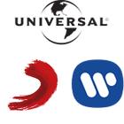 Universal Music logo, Sony Music logo, Warner Music logo