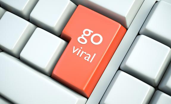 viral content online, Go Viral button, computer keyboard