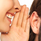 viral marketing, storytelling, woman whispering in man's ear