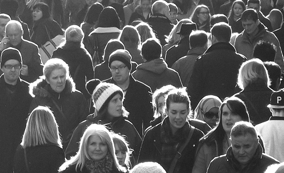 mainstream people, western city, crowded street, black and white picture