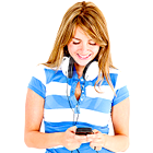 young woman, listening radio, listening music, cell phone, mobile phone, headphones