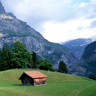 wooden house, barn, grass, trees, mountain-landscape