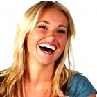 beautiful young woman laughing, beautiful young woman having fun