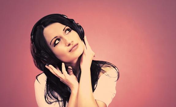 female listening radio, woman hearing music, girl wearing headphones